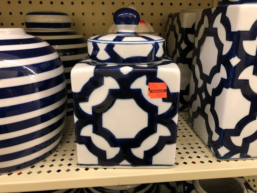 blue and white cookie jar at hobby lobby