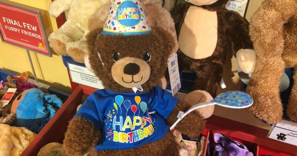 happy birthday bear in build-a-bear store