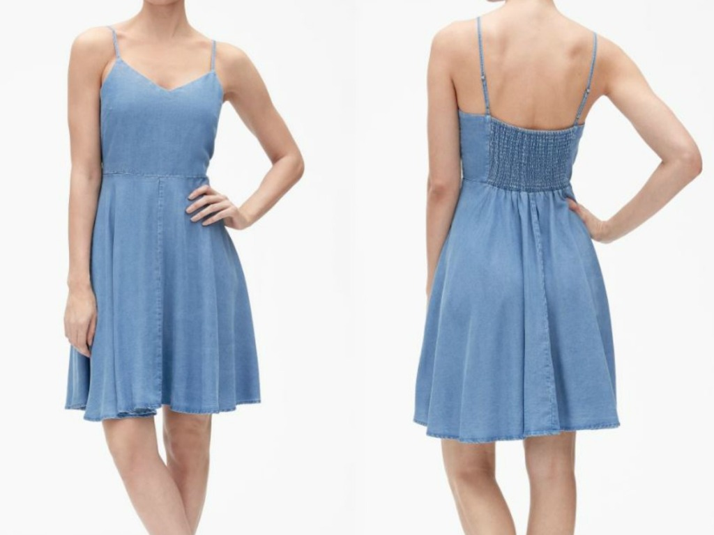woman in blue dress showing front and back on white background