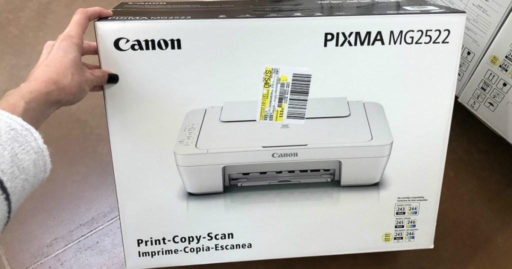 hand wiht Canon Pixma MG2522 All-In-One Color Printer box