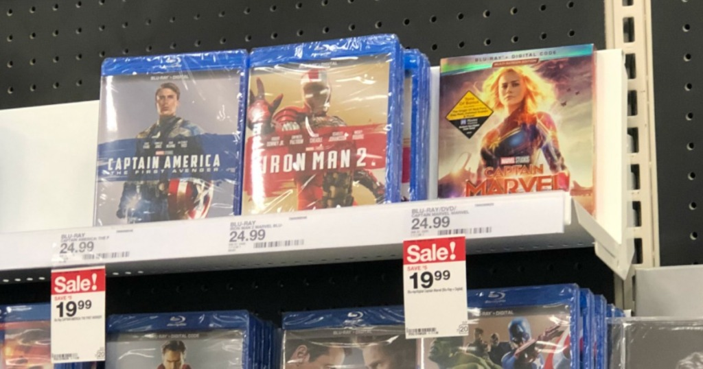 captain marvel blu-ray and other movies on target shelf