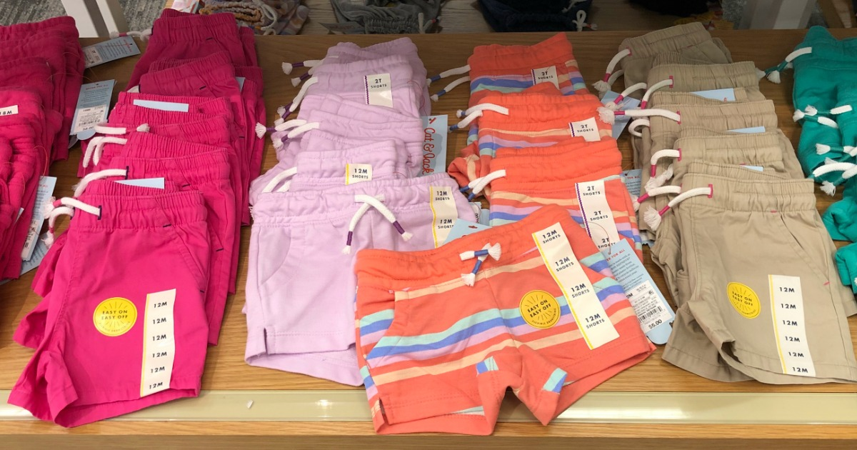 colorful cat and jack kids shorts on a Target shelf