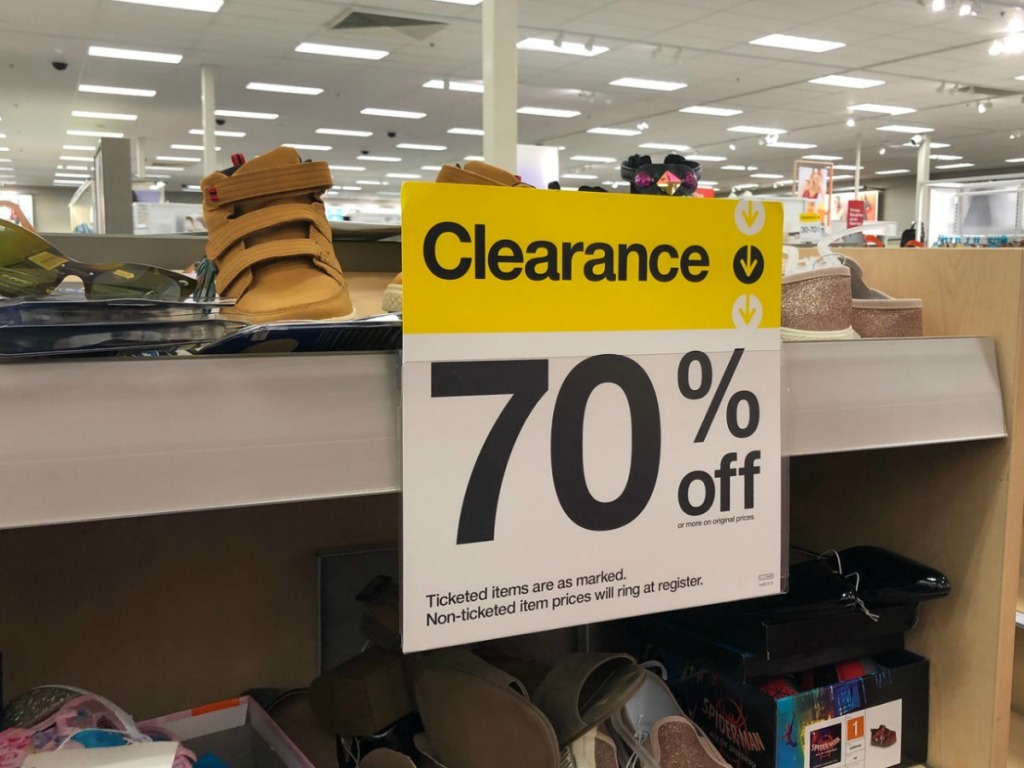 store shelf with big tag that says clearance