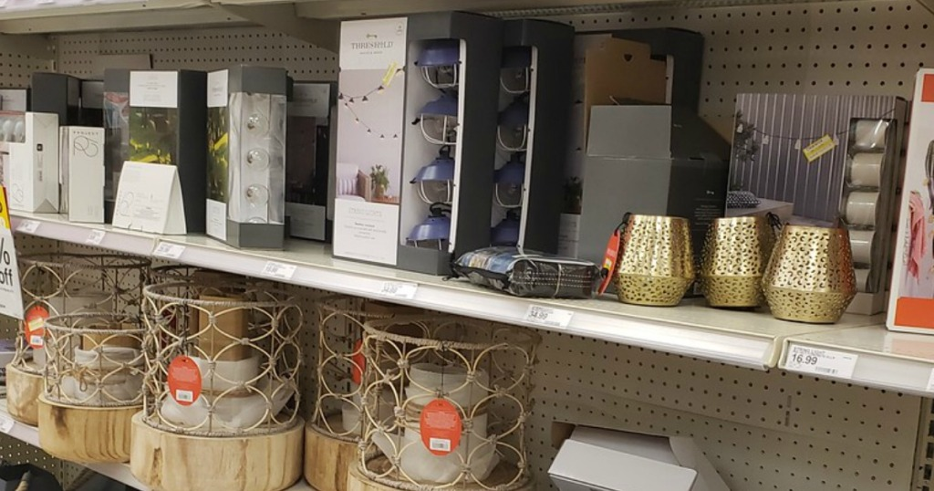 lanterns and lights on store shelf
