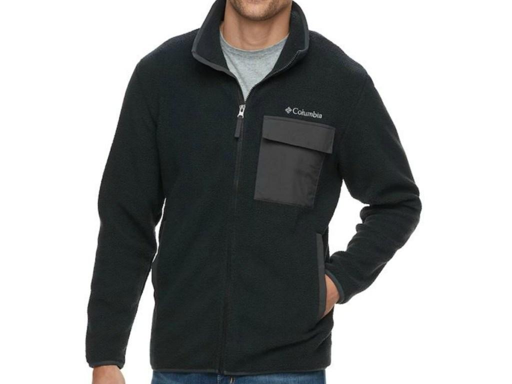 man's body wearing black jacket