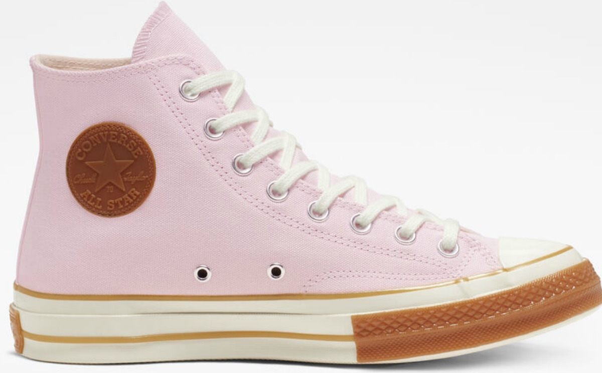 pink converse chucks high tops with white and tan sole