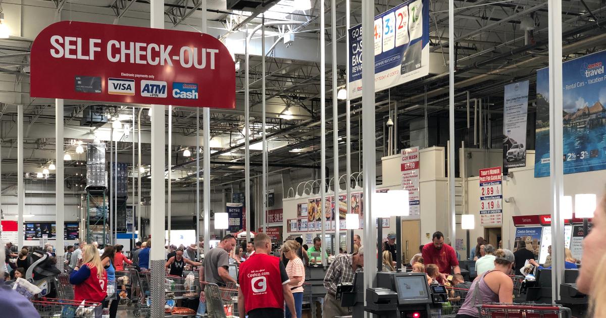 Self-checkout area at Costco