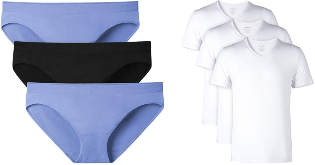 black and blue womens underwear and mens 3-pack of white tees