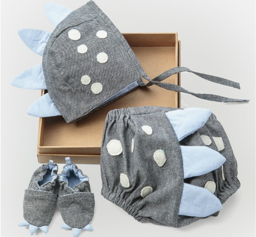 dino hat, shorts and booties set