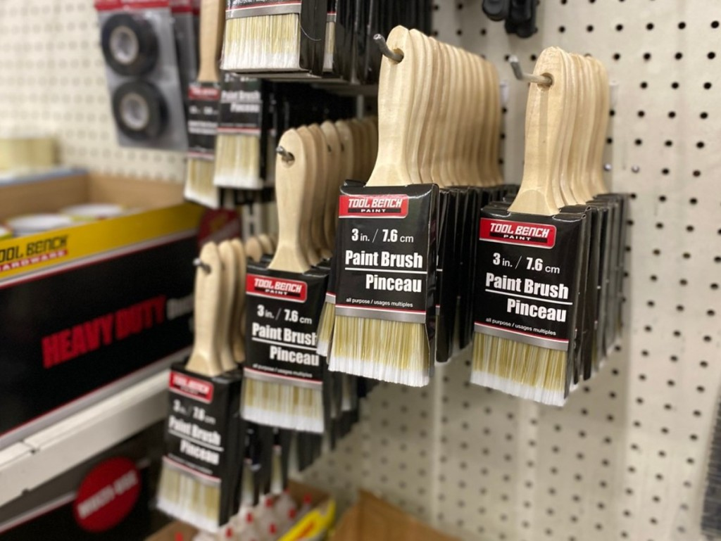 paint brushes hanging at dollar tree