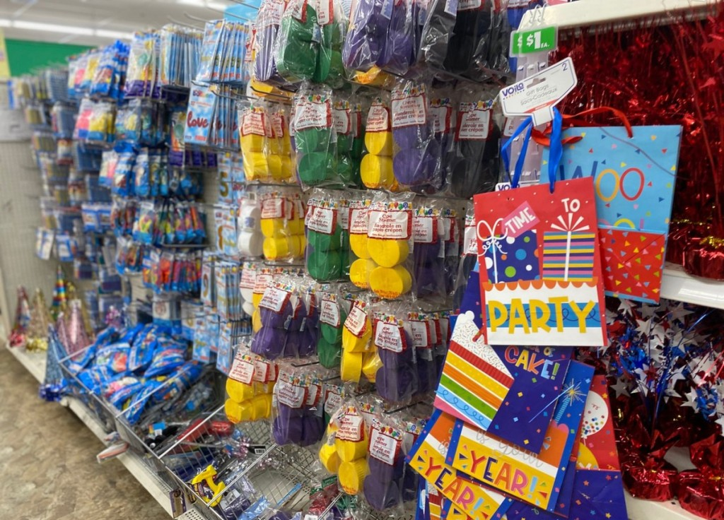 party supply section of Dollar Tree