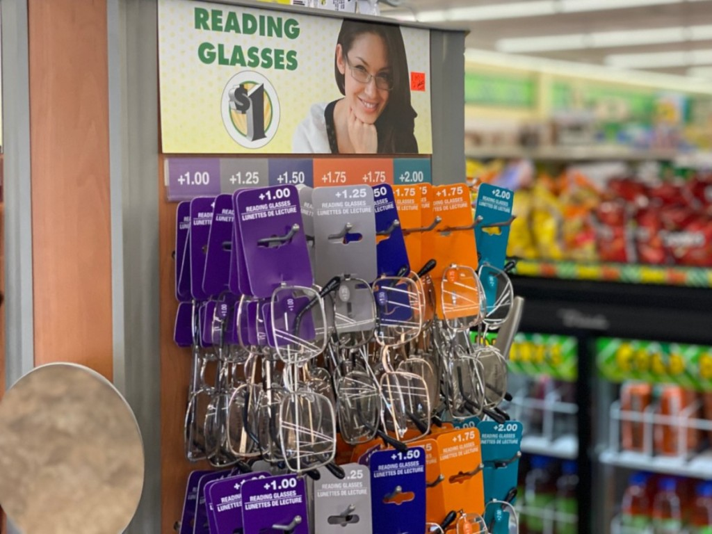 reading glasses on display at Dollar Tree