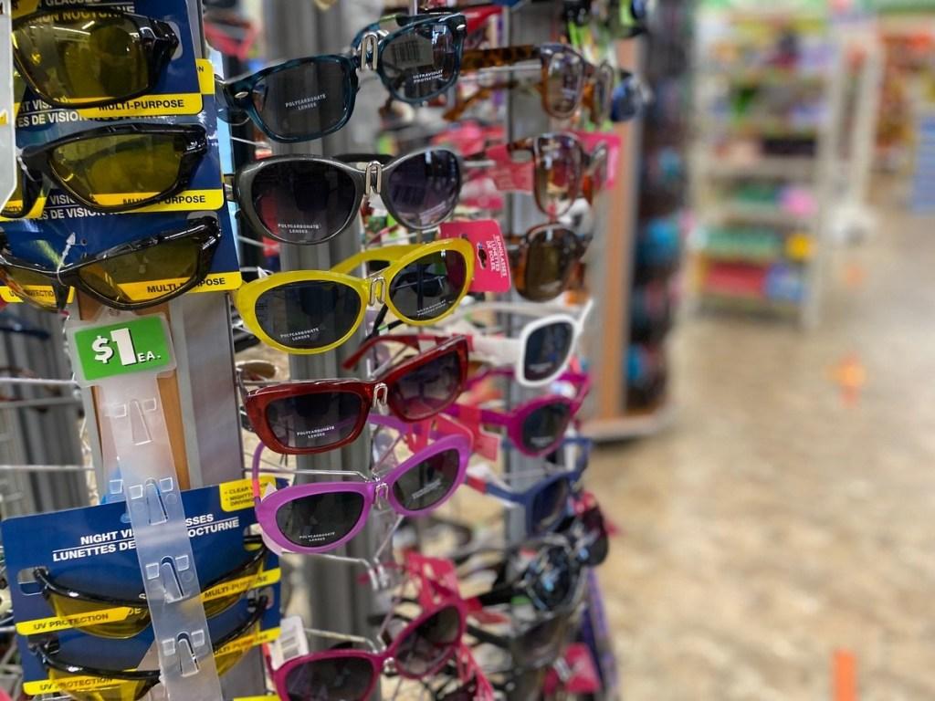 Dollar Tree sunglasses display