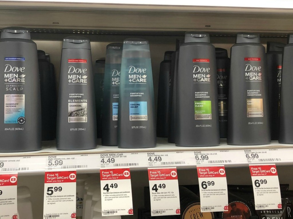 bottles of men's shampoo on store shelf