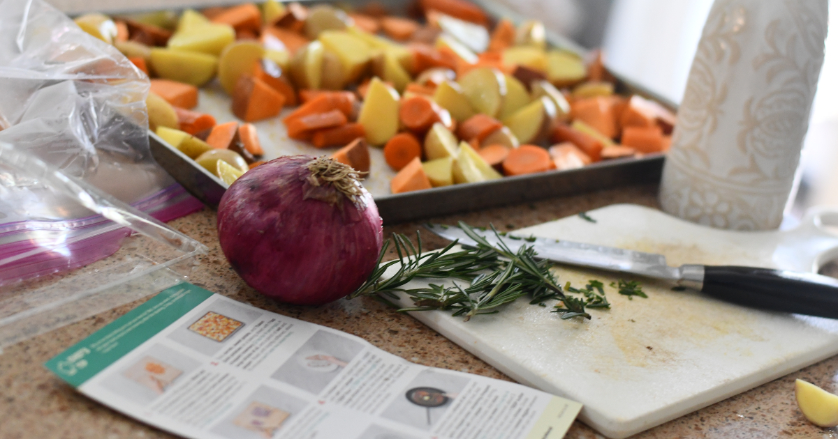 EveryPlate meal prep with root vegetables and cutting board