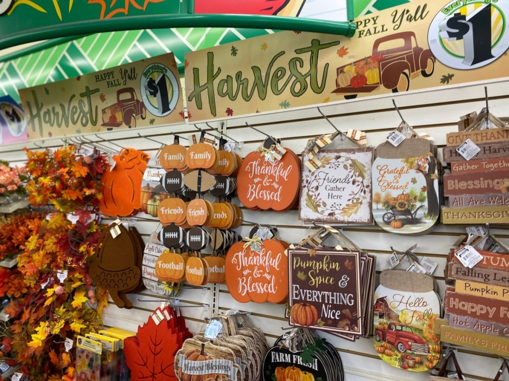 fall decor section of Dollar Tree