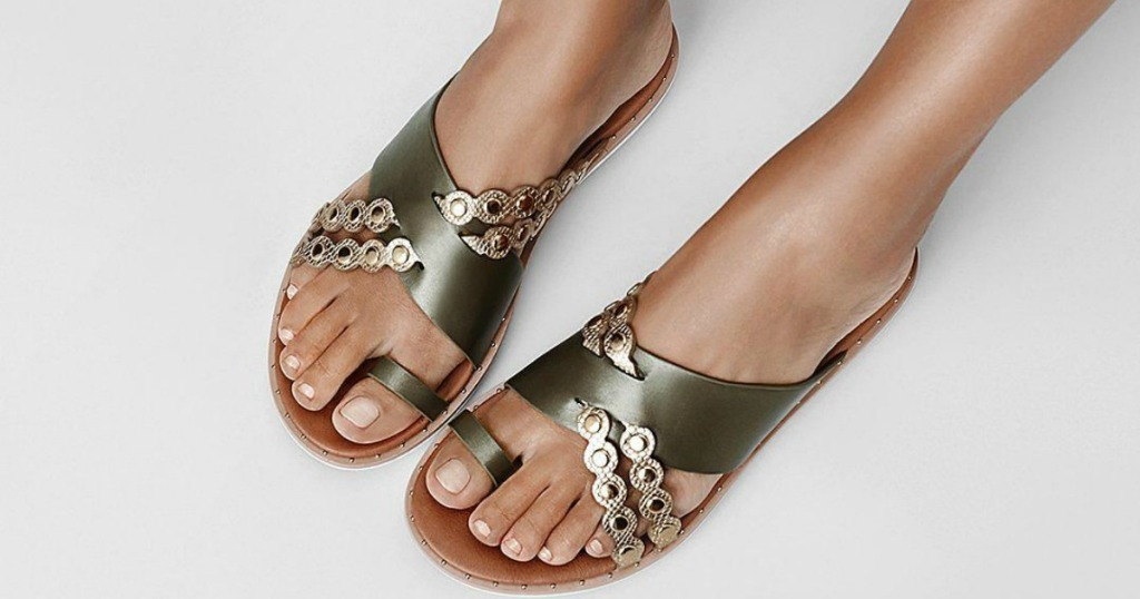 green and gold sandals