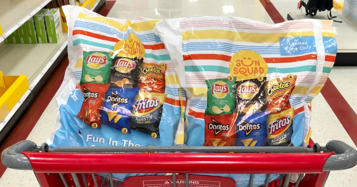 big bags of snack size chips in store grocery cart