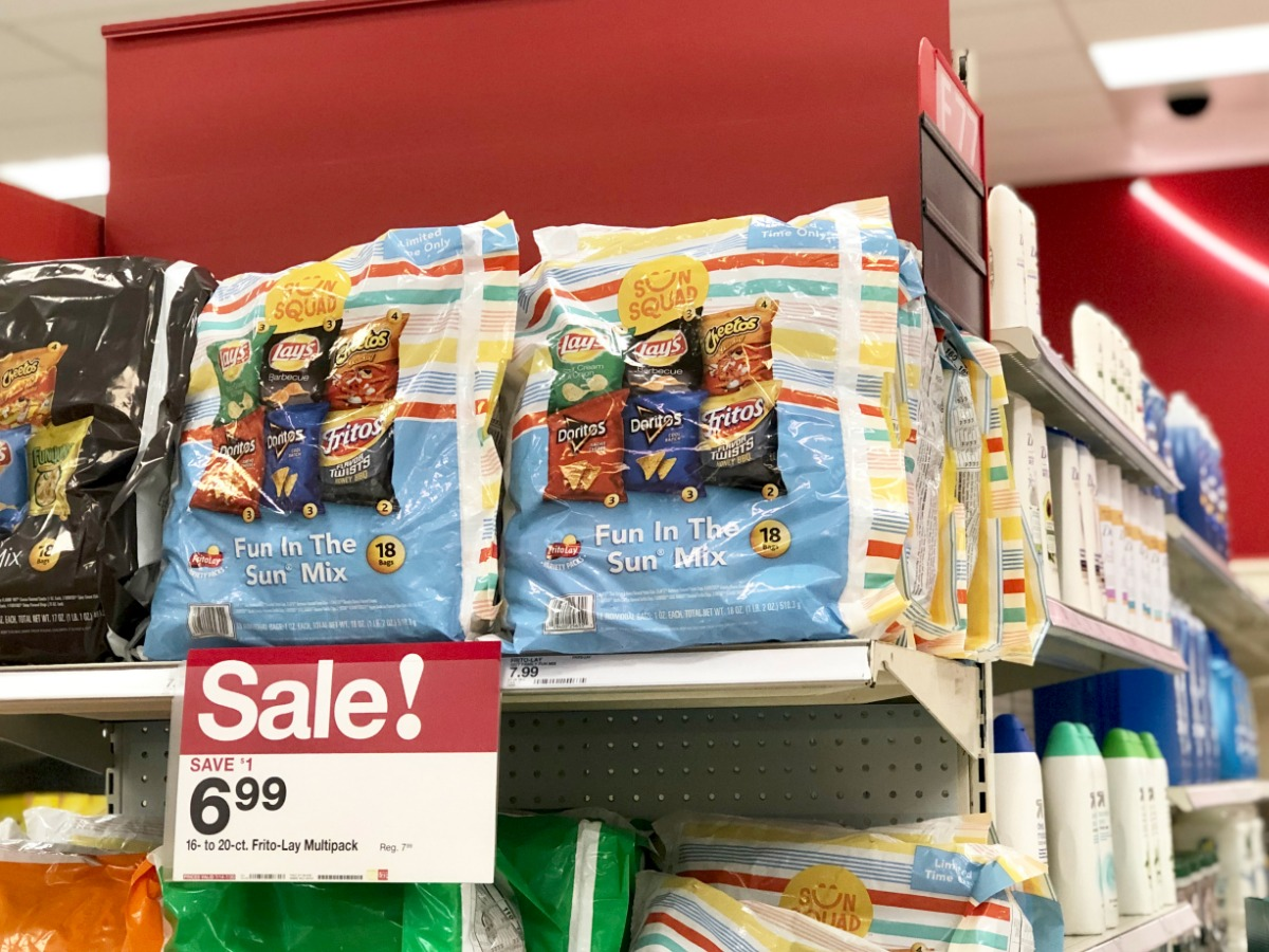 store shelf with packages of chips