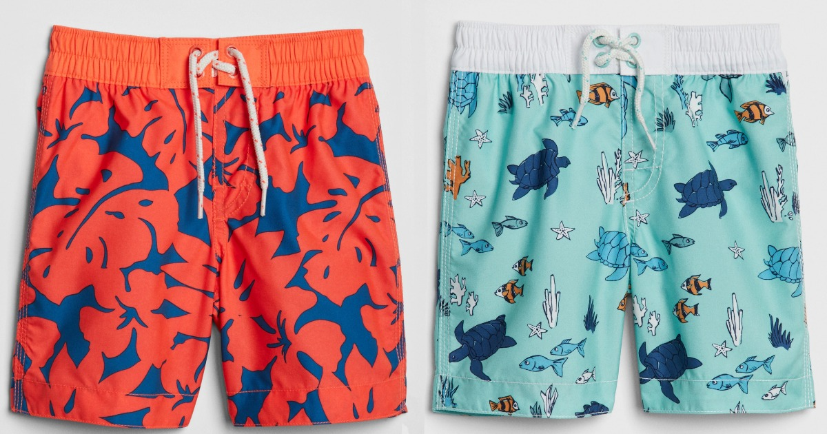 boys orange and blue swim trunks
