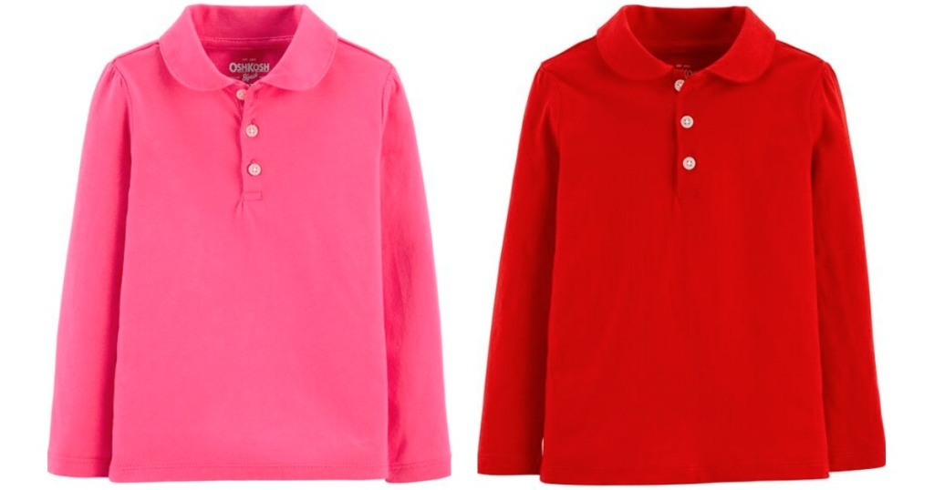 pink and red long sleeve polos