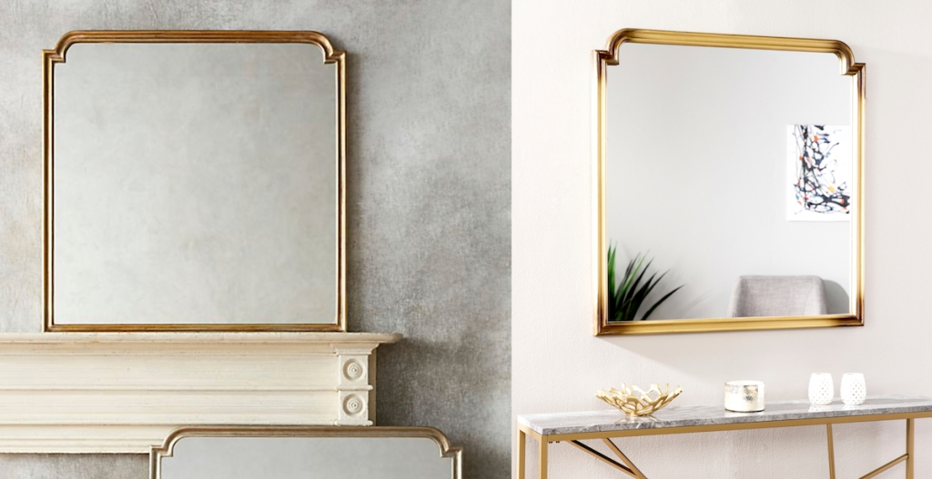 gold mirrors on wall