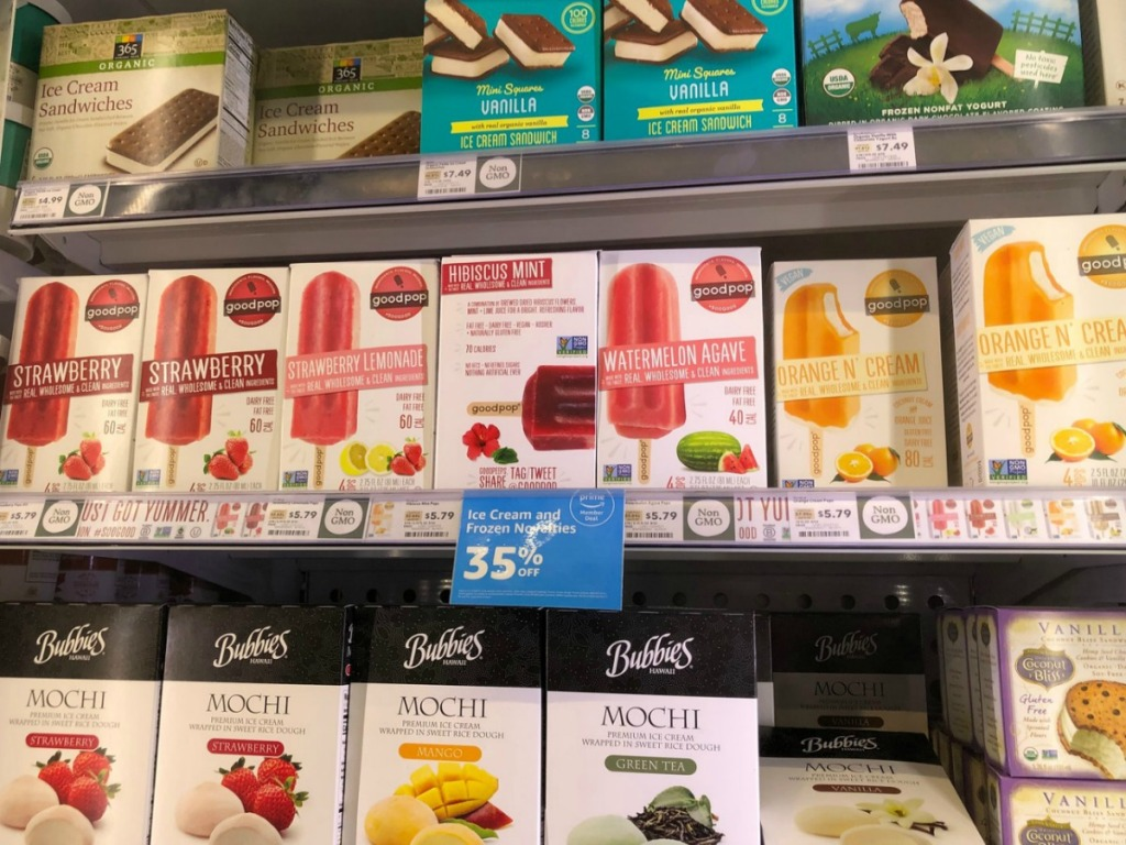 frozen boxes of treats in store freezer