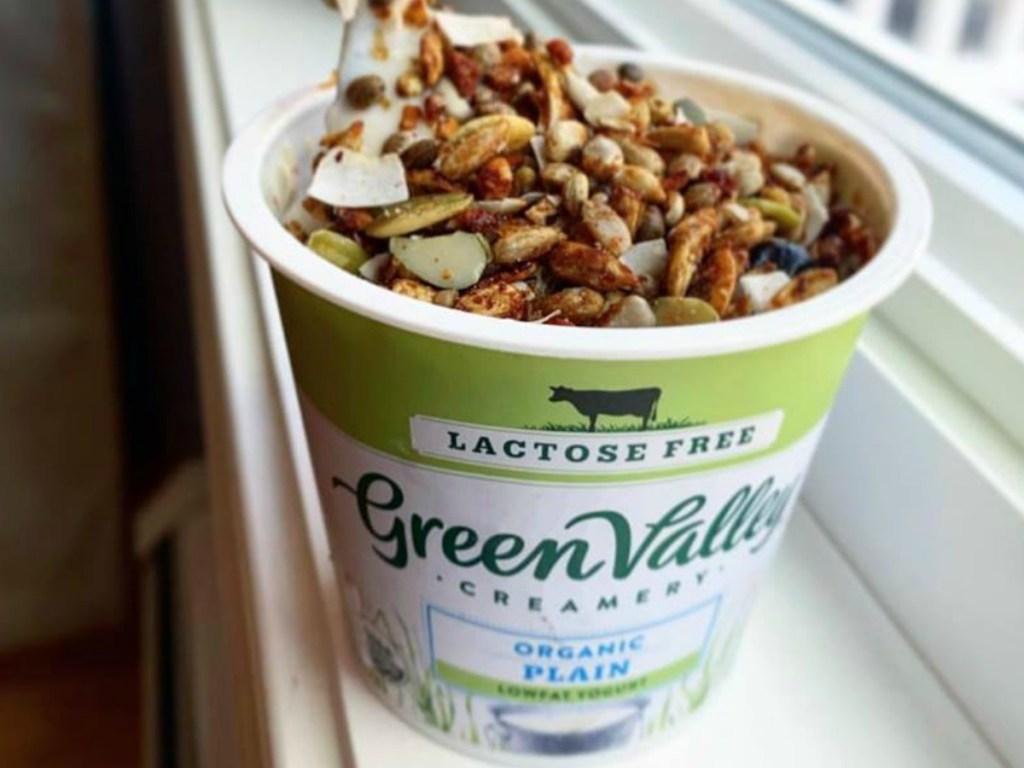 green valley creamery yogurt sitting on windowsill