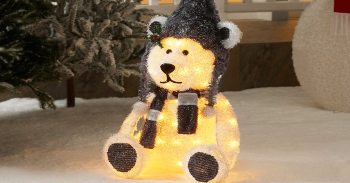 Holiday Time Light up fluffy outdoor bear