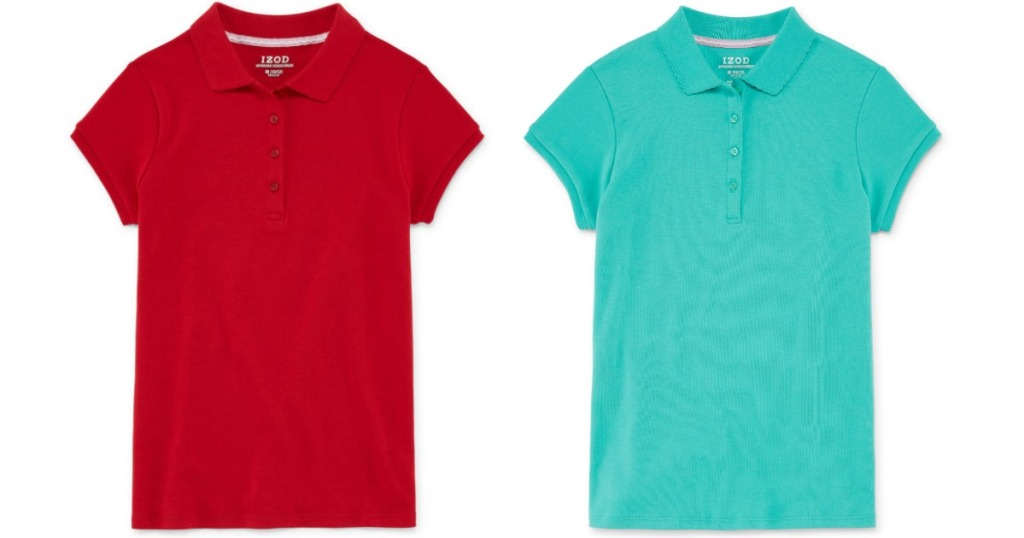 red and teal polo shirts