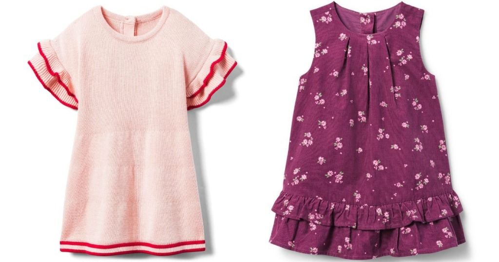 baby girls pale pink dress and purple flower dress