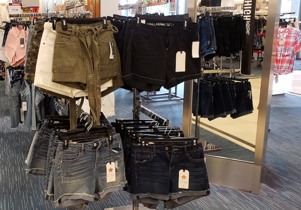 clothing rack with junior shorts at macys