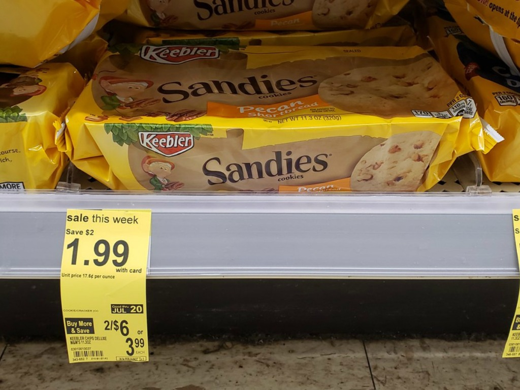 package of cookies on store shelf with price tag