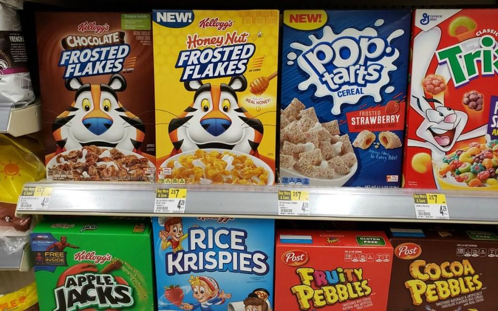 shelves of Kellogg's cereal at Walgreens