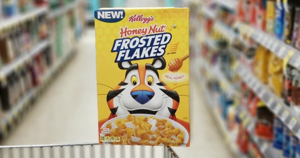 box of kellogg's honey nut frosted flakes sitting on cart in store
