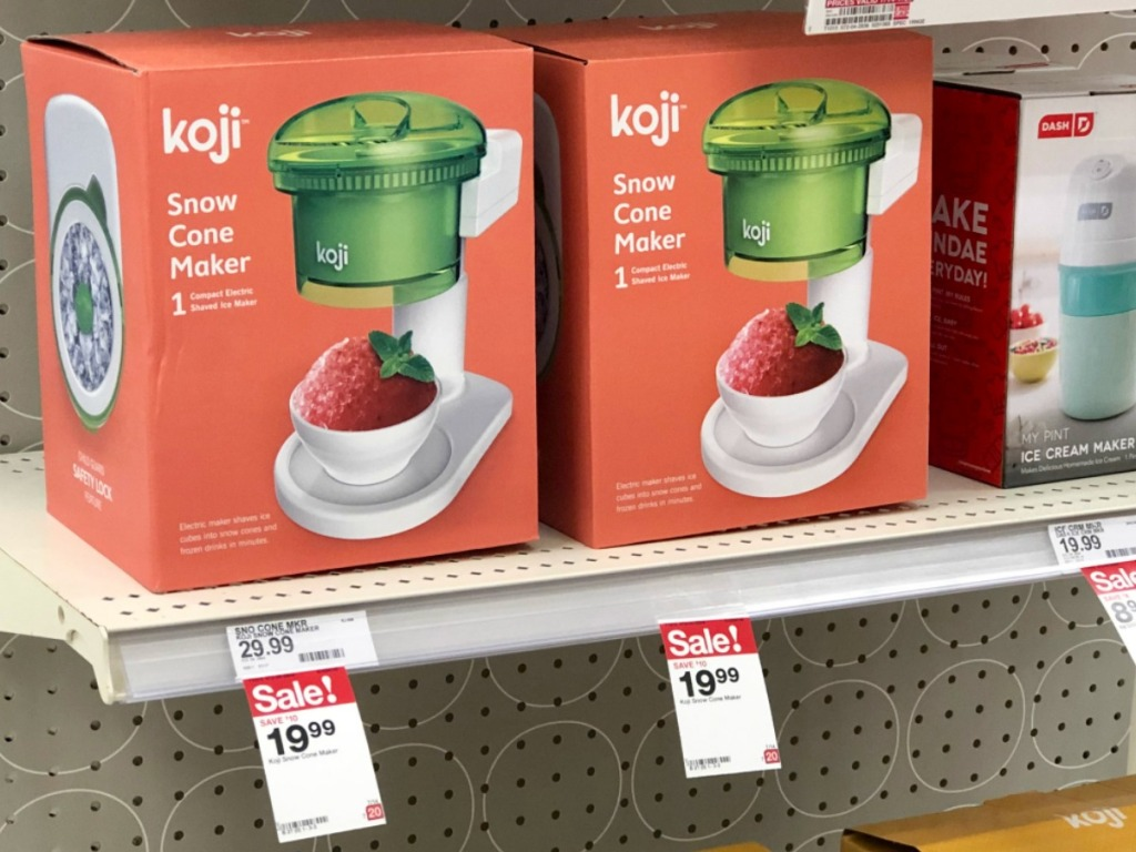 boxes of snow cone makers on the shelf at store