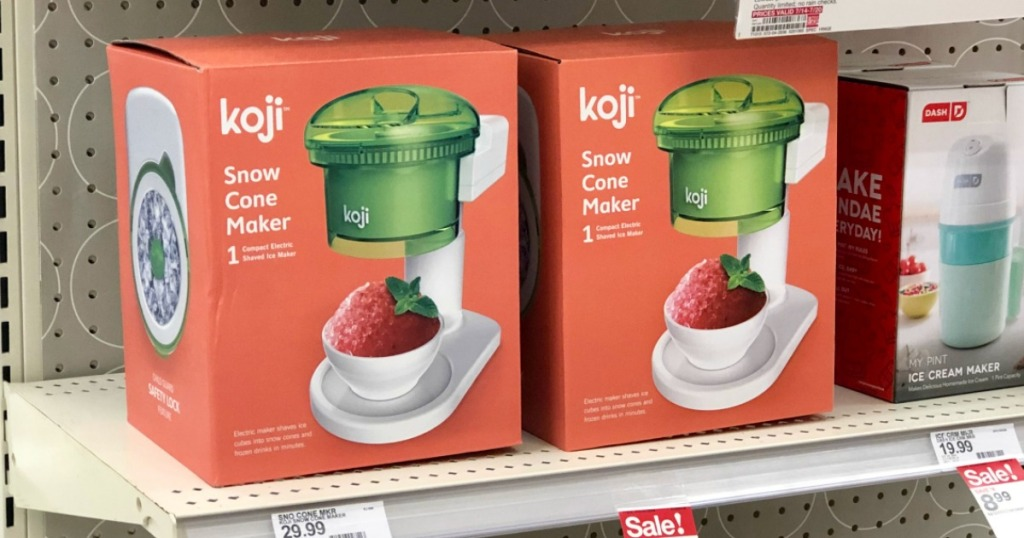 two koji snow cone makers in boxes on a Target store shelf