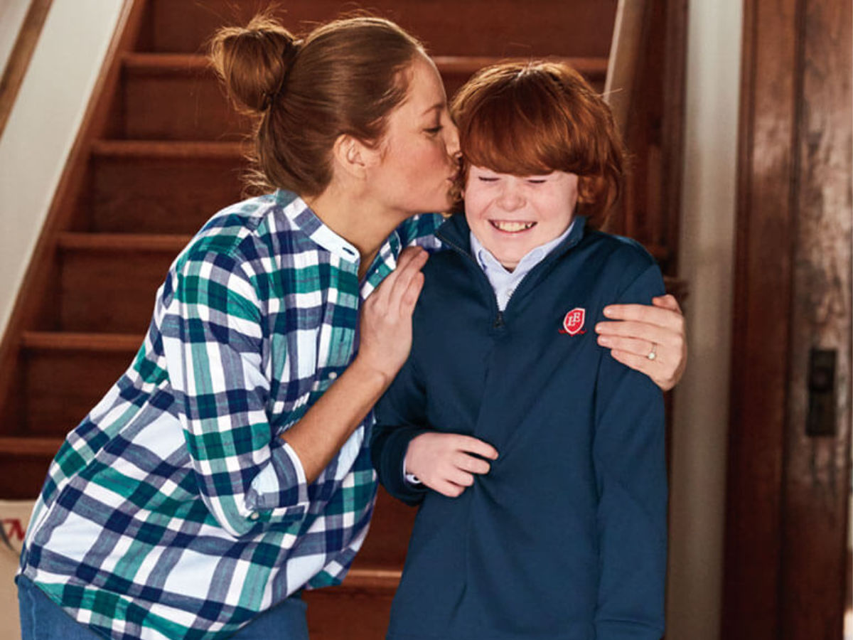 mom kissing son wearing lands end pull over