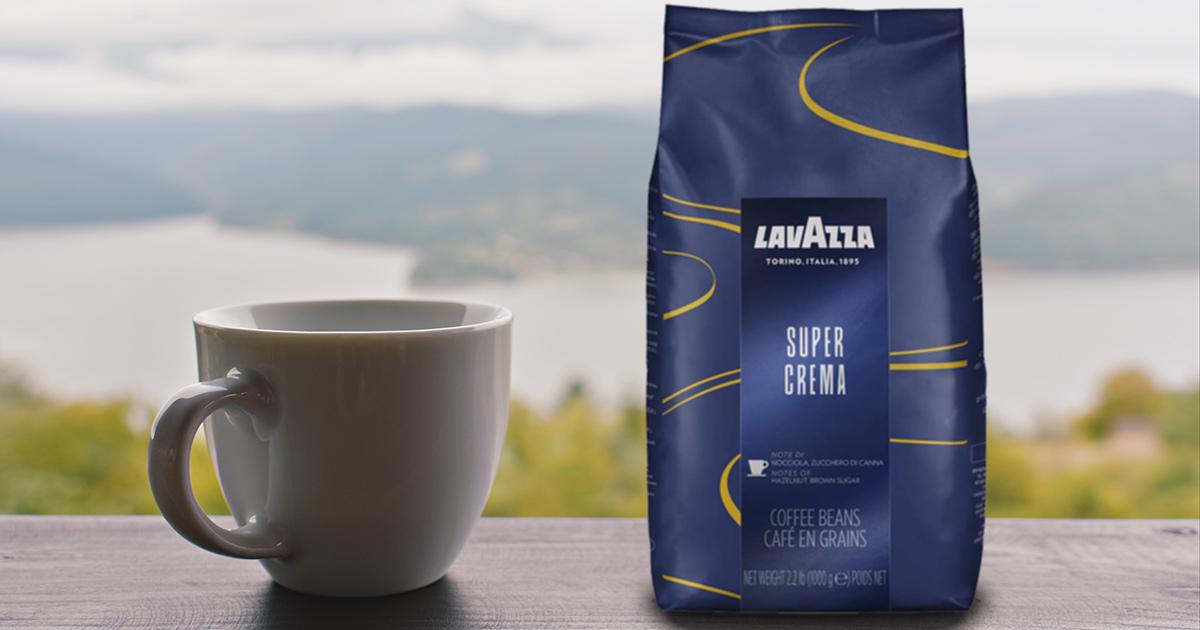 lavazza super crema coffee bag and cup
