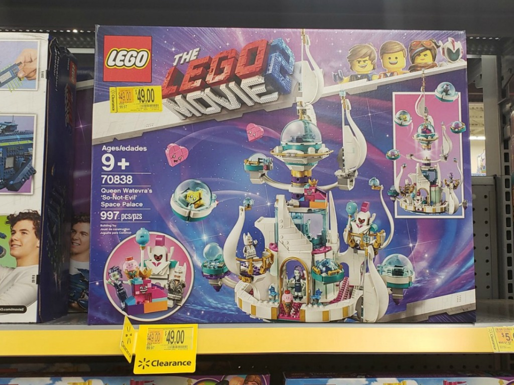 lego box on store shelf with clearance sticker