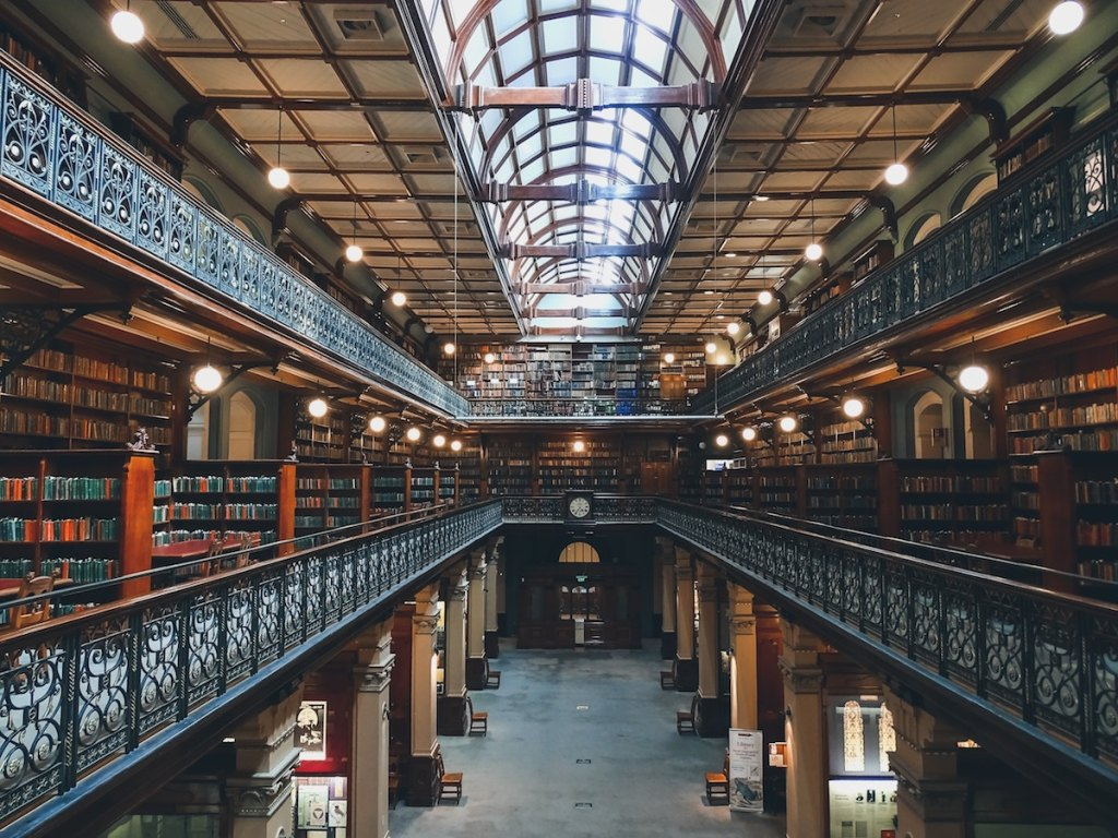 huge three story library