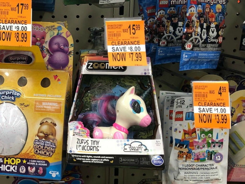 store display with toys and clearance tags
