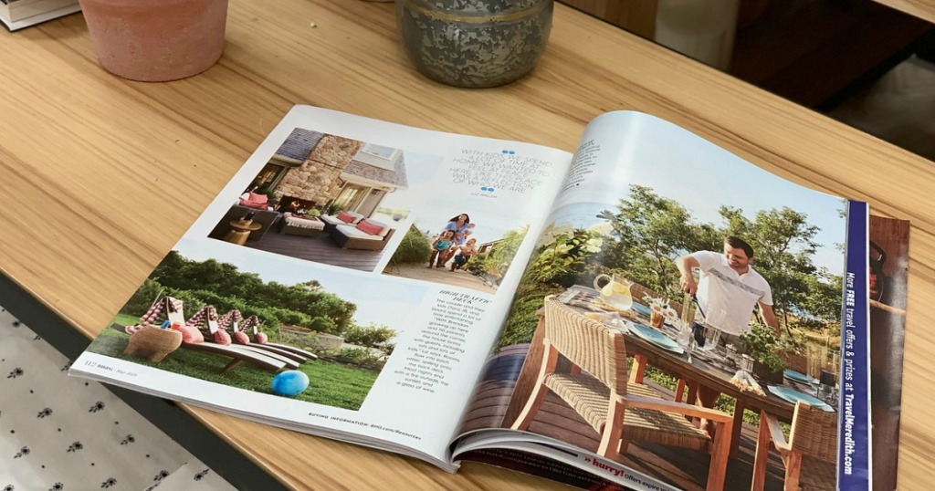 magazine sitting on table
