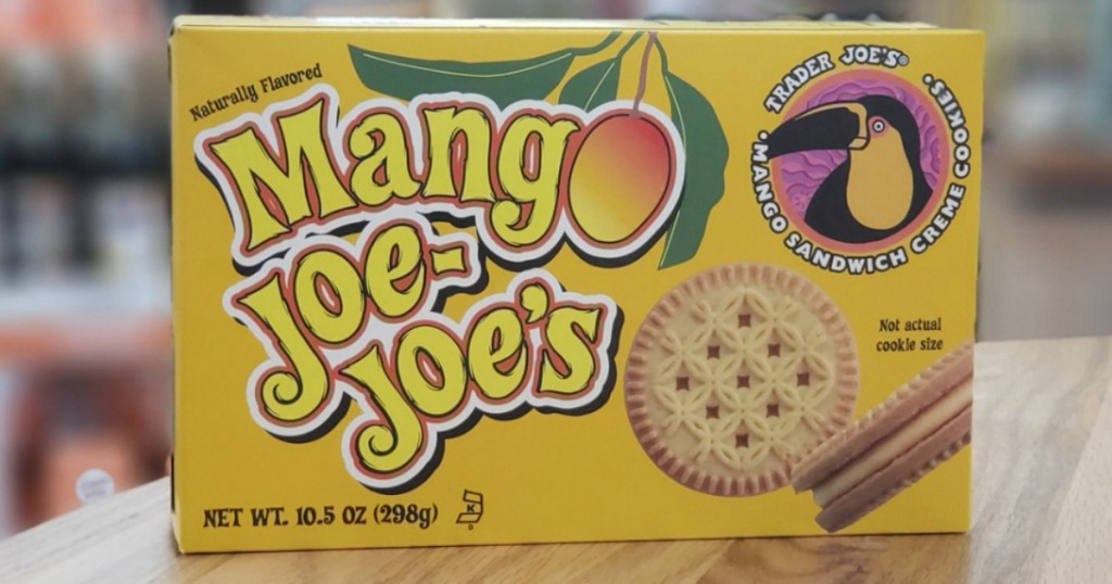 box of cookies with mango in them on table