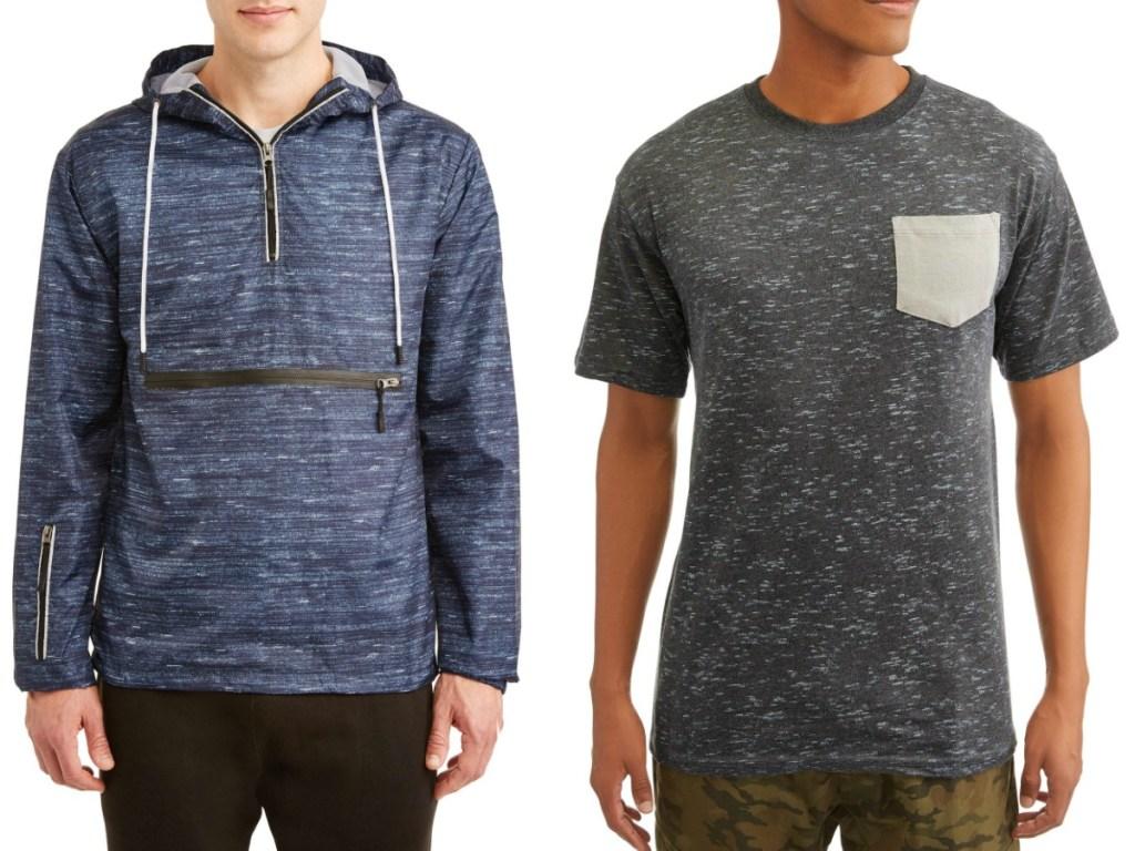 mens windreaker and t-shirt