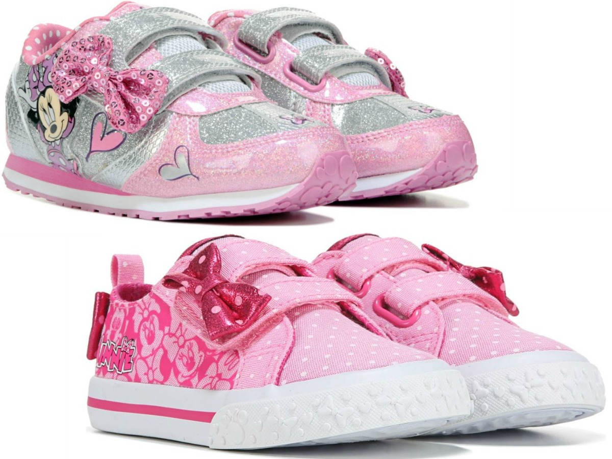 two pairs of pink kids Disney sneakers
