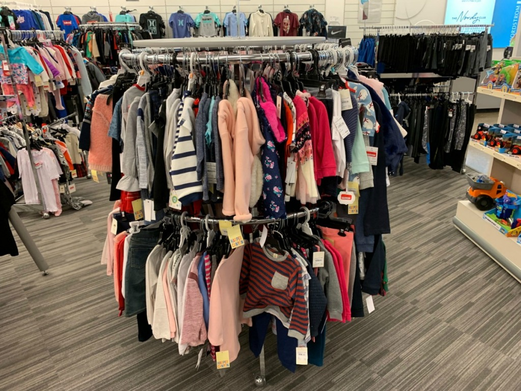 children's clothes on store rack
