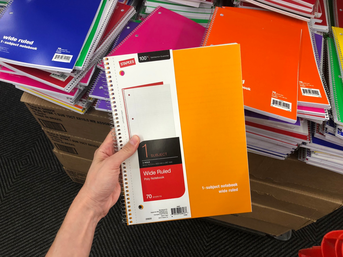 Staples wide ruled notebook