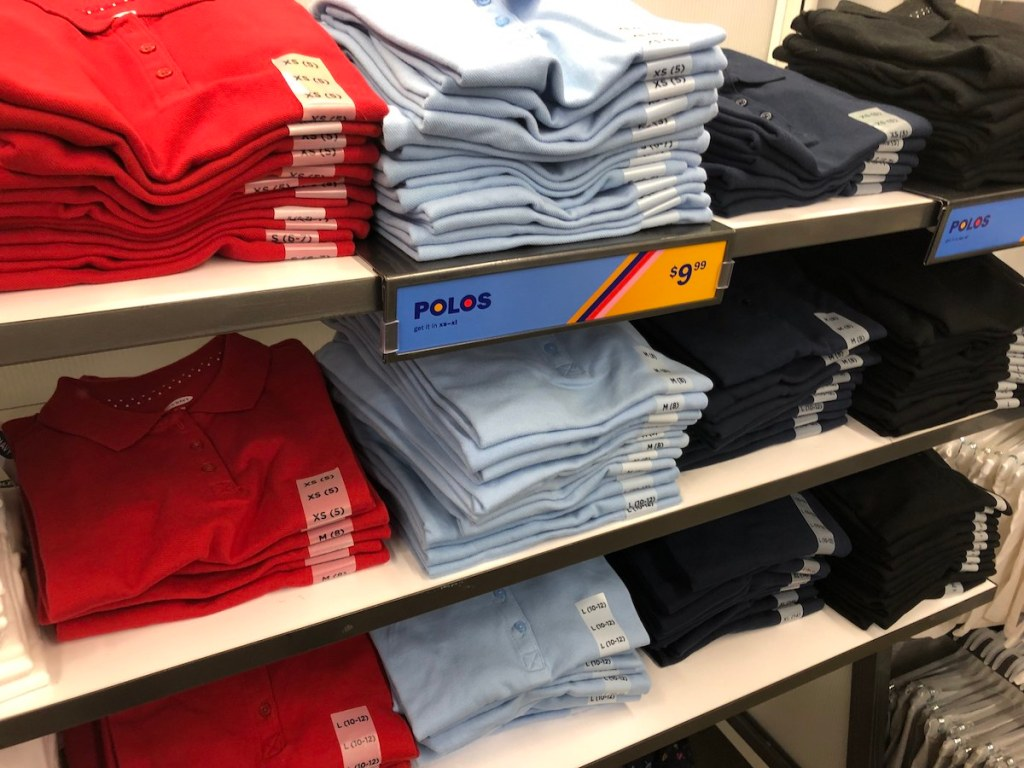 old navy kid polos on shelf