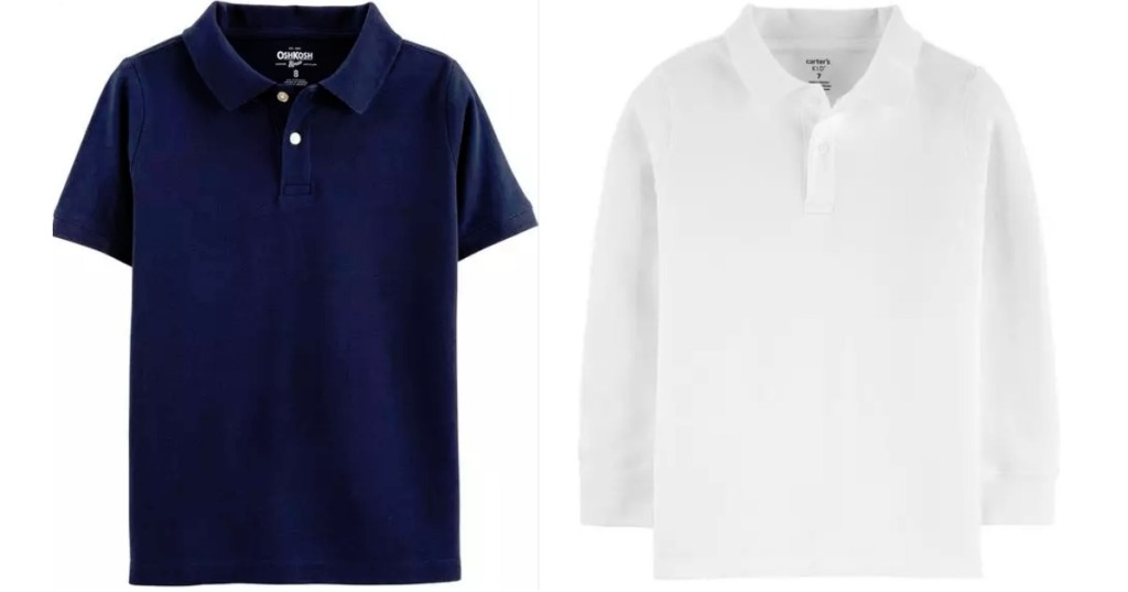 blue and white uniform polos